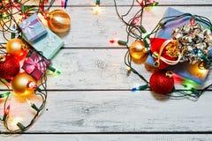 Stilleben för lägenhet för jul och för nytt år lekmanna- royaltyfri bild