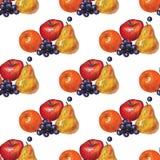 Stilleben gult päron, druva, apelsin Royaltyfri Fotografi