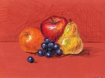 Stilleben gult päron, druva, apelsin Fotografering för Bildbyråer