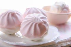 Stilleben i pastellfärgade färger med marshmallower på en vit platta Royaltyfria Bilder