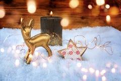 Stilleben i snö för jul och advent Arkivfoto