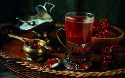 Stilleben i tappningstil Stäng sig upp exponeringsglas och karaffen med rött aktuellt te eller frukt-drinken arkivbild