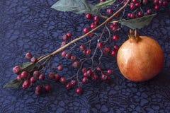Stilleben - ikebana av filialen med torkad bär och granatrött stucken livlig scarftextil för bakgrund closeup arkivbild