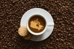 Stilleben - kaffe med översikten av Kanada Fotografering för Bildbyråer