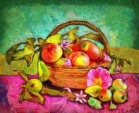 Stilleben med äpplen i en korg Royaltyfria Bilder