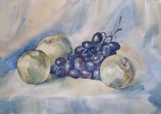 Stilleben med äpplet och druvor - vattenfärg Royaltyfri Fotografi