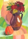 Stilleben med äpplet och tillbringaren, vattenfärgmålning Arkivfoto