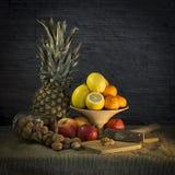 Stilleben med ananasen och valnötter fotografering för bildbyråer