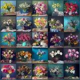 Stilleben med blommor på en blått- och gräsplanbakgrund, collage royaltyfria bilder