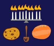 Stilleben med candleholderen och sötsaker stock illustrationer