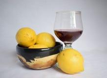 Stilleben med citroner och vin Arkivbild