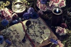 Stilleben med den gamla boken med den botaniska teckningen, den svarta stearinljuset och blommor i mystiker tänder arkivfoto