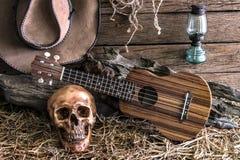 Stilleben med den mänskliga skallen och ukulelet i ladugårdbakgrund Arkivfoton