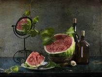 Stilleben med den mogna och röda vattenmelon Royaltyfri Foto