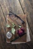 Stilleben med den röda rosen på en gammal bok som förläggas med det antika ärret Royaltyfria Bilder
