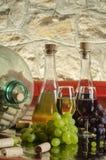 Stilleben med druvor, vinexponeringsglas och vinflaskor i gammal källare fotografering för bildbyråer