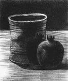 Stilleben med en krus och en granatäpple Royaltyfri Fotografi
