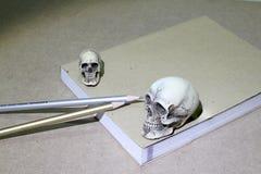 Stilleben med en skalle och en bok på trätabellen Fotografering för Bildbyråer
