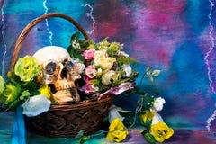 Stilleben med en skalle och en gammal blomma Fotografering för Bildbyråer
