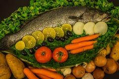 Stilleben med fisken, grönsaker och örter Arkivbilder