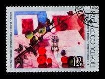 `-Stilleben med frukt` 1918, K Petrov-Vodkin circa 1978 Arkivbild