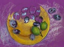 Stilleben med frukt på en platta Arkivbilder