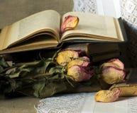 Stilleben med gammala böcker Royaltyfria Bilder