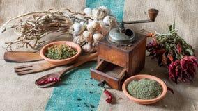 Stilleben med grönsaker och torkade örter Royaltyfria Foton