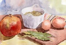 Stilleben med granatäpplet, linser och ägg vattenfärg Royaltyfria Bilder