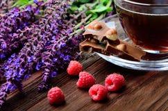 Stilleben med hallon och choklad Royaltyfria Foton