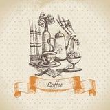 Stilleben med kaffe vektor illustrationer