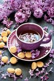 Stilleben med lila blommor och te med kakor arkivbilder