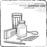 Stilleben med medicin för influensan och förkylningarna Arkivbild