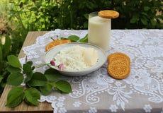 stilleben med mjölkar ostmassa och kakor arkivfoton