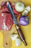 Stilleben med rå meat Royaltyfria Bilder