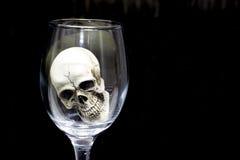 Stilleben med skallen i ett exponeringsglas av vin Arkivfoton