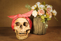 Stilleben med skallen och rosor Royaltyfria Bilder