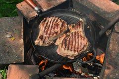 Stilleben med stycken av stekt kött på grillfesten Royaltyfri Foto