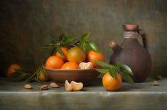 Stilleben med tangerines Fotografering för Bildbyråer