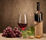 Stilleben med vinflaskor, exponeringsglas och druvor Arkivfoton