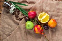 Stilleben på att plundra bakgrund: äpple persikor, orance, plommoner Arkivbilder