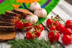Stilleben: tomater, svart bröd, vitlök, fänkål och bayberry Royaltyfria Foton