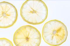 Stillebenbilden, abstrakt fruktbakgrund är nära upp på citronen som skivas, för att visa en detalj på ny citronframsida med vit b Arkivfoton