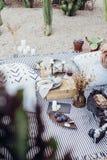 Stillebeninställning av picknickfilten Arkivfoton