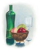 Stillebenmålning med exponeringsglas för vin för fruktbunke och den gröna flaskan Royaltyfri Bild