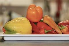 Stillebensamling av färgglad söt spansk pepparpaprika Fotografering för Bildbyråer