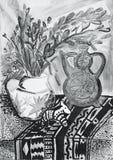 Stillebensammansättningsillustration med en tekanna, blommor, tillbringare, Royaltyfri Fotografi