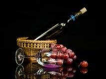 Stillebenvin och druva Arkivfoton