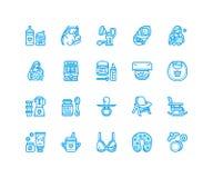 Stillen, flache Linie Ikonen des Säuglingsnahrungsvektors Stillend Elemente - Pumpe, Frau, Kind, Milchpulver, Flasche stock abbildung