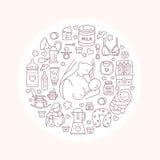 Stillend Plakatschablone Vector Zeilendarstellung des Stillens, Babysäuglingsnahrung Kindertagesstättenelement: Brustpumpe, Frau, lizenzfreie abbildung